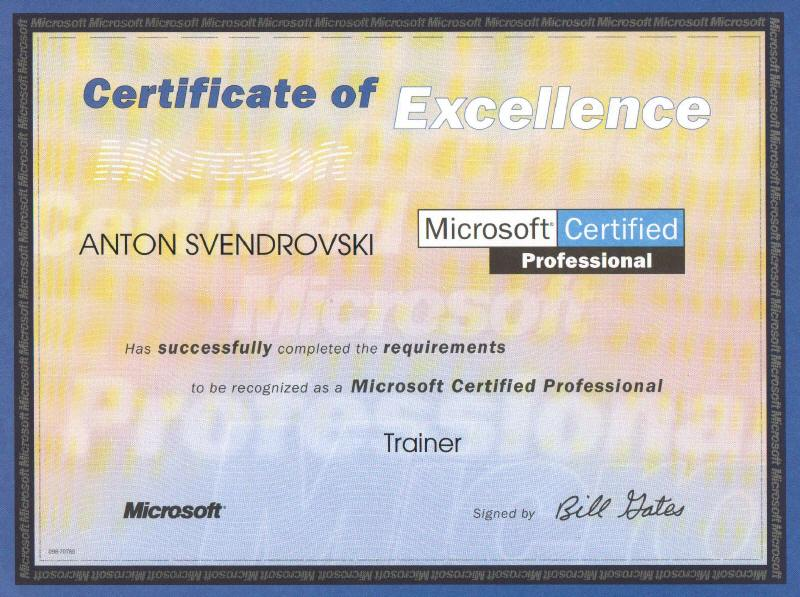 Website Of Anton Svendrovski Professional Certification