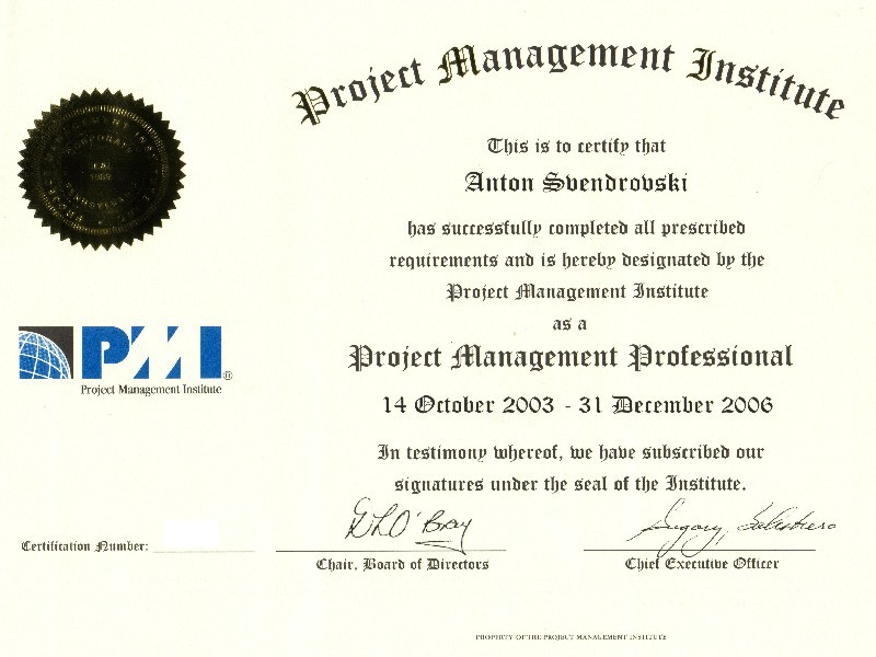 Website of Anton Svendrovski - Professional Certification